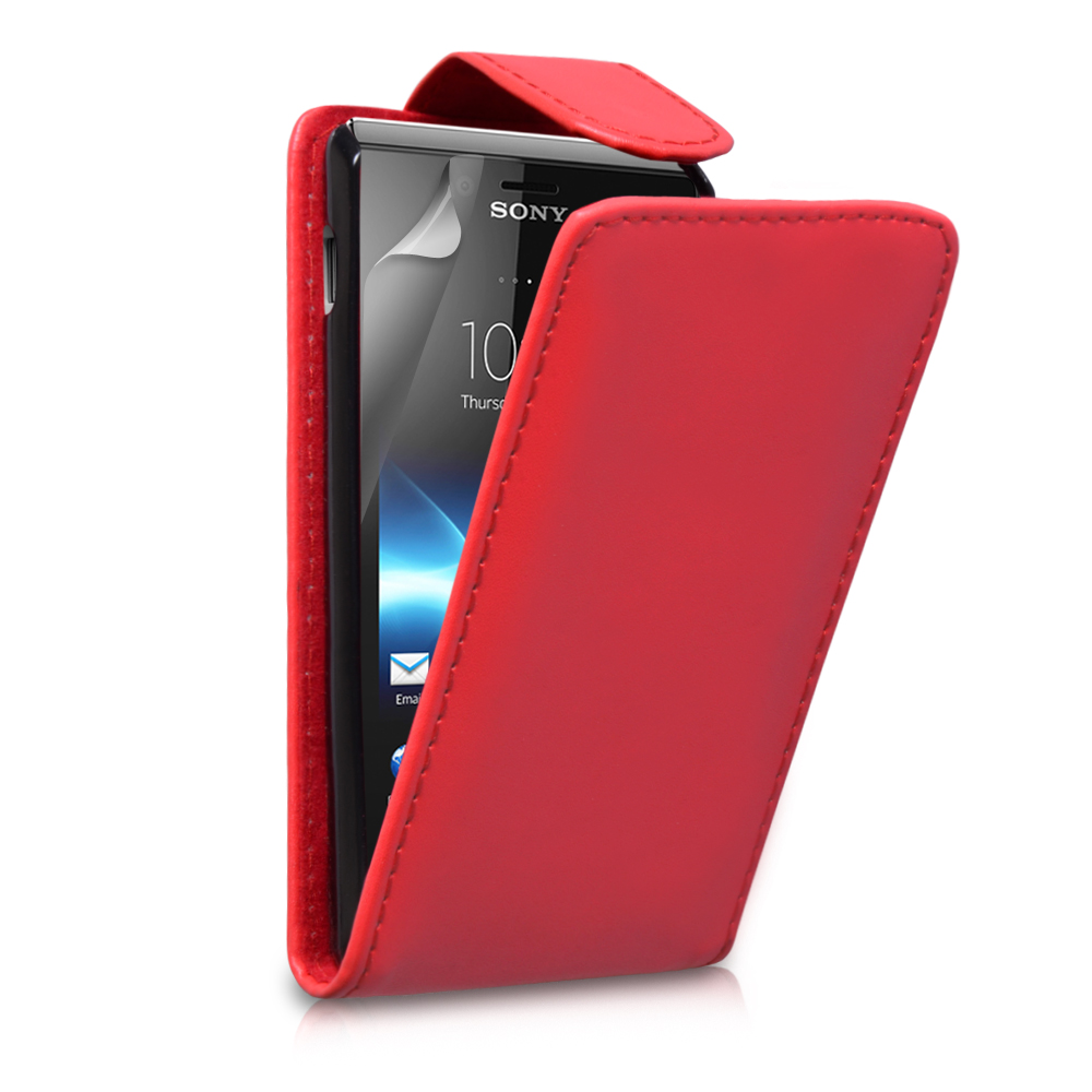 YouSave Accessories Sony Xperia J Leather Effect Flip Case - Red