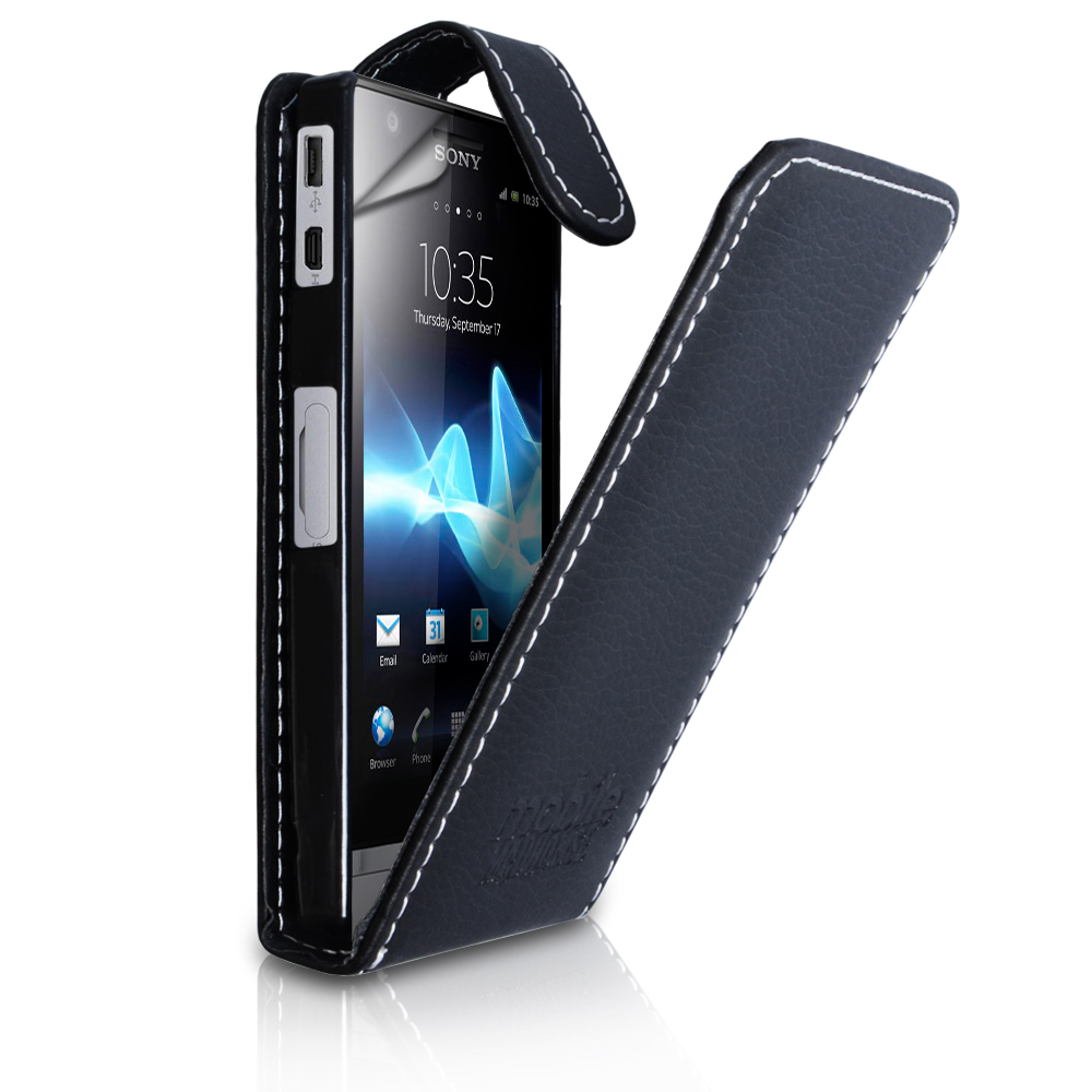 YouSave Sony Xperia P Leather-Effect Flip Case - Black Embossed