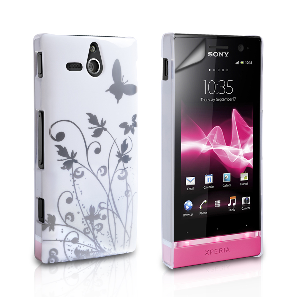 YouSave Accessories Sony Xperia U White Butterfly IMD Hard Case