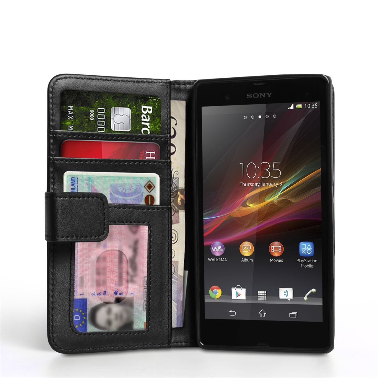 Caseflex Sony Xperia Z Real Leather Wallet Case - Black