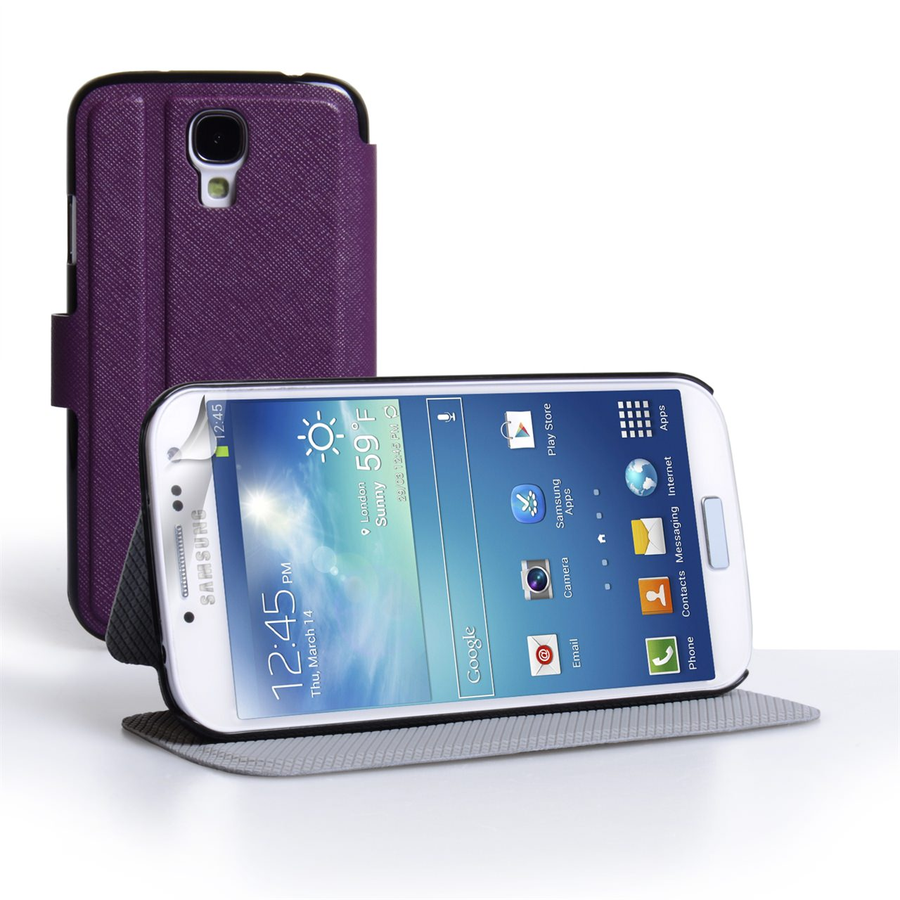 YouSave Samsung Galaxy S4 Leather Effect Flip Stand Case - Purple