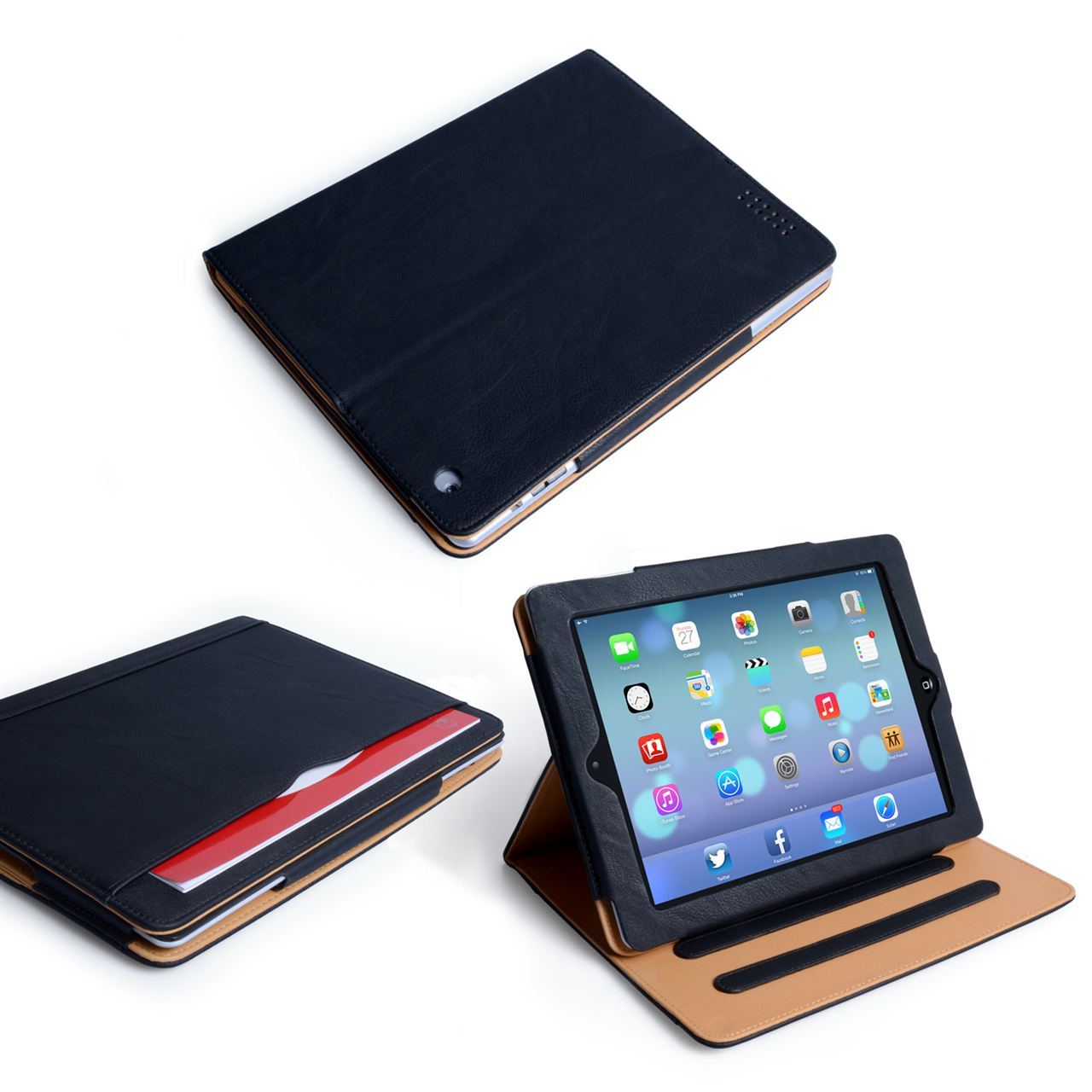 Caseflex iPad Air Textured Faux Leather Stand Case - Black and Tan