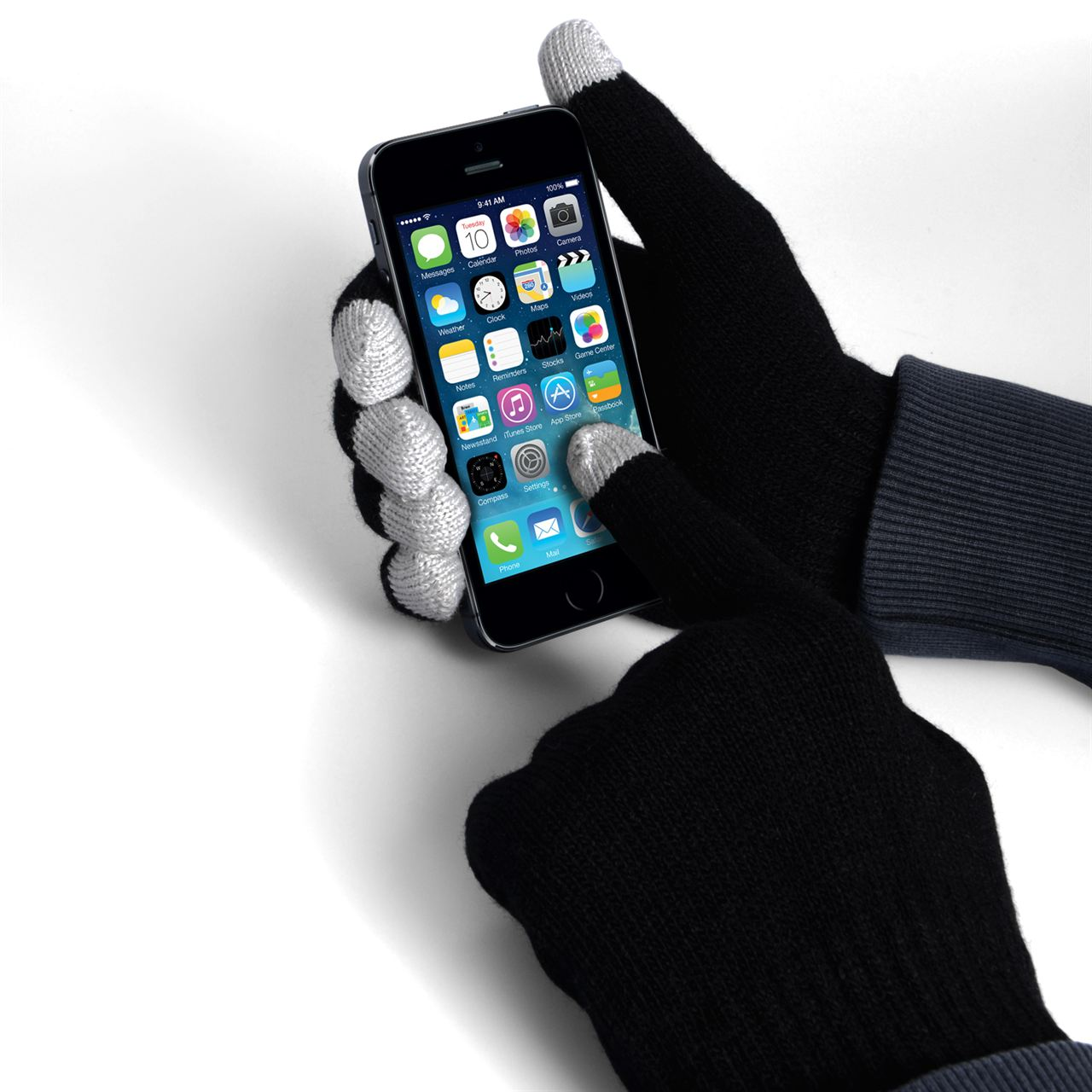 YouSave Accessories Touch Screen Gloves - Black with Grey Tips