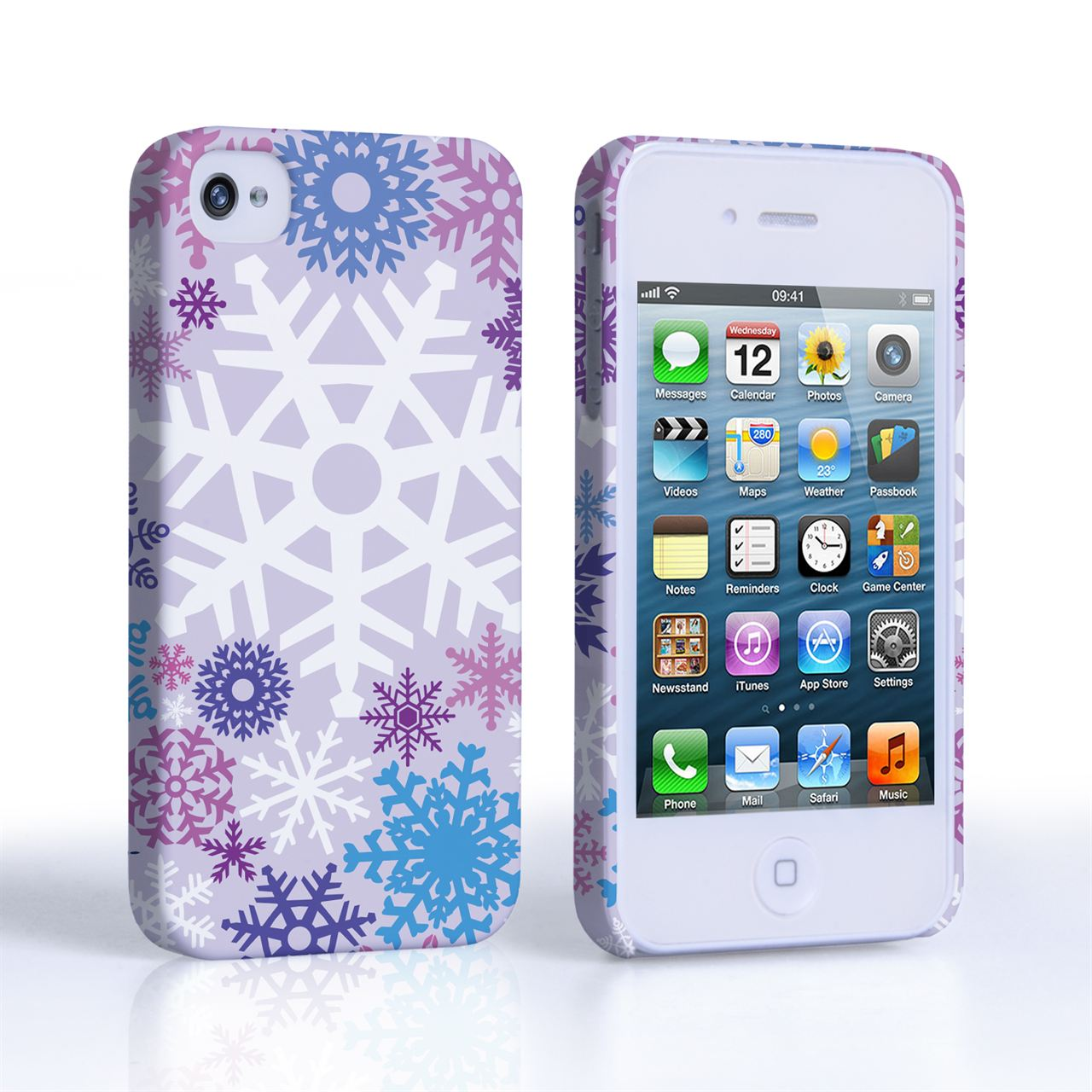 Caseflex iPhone 4 / 4S Winter Christmas Snowflake Cover – Purple