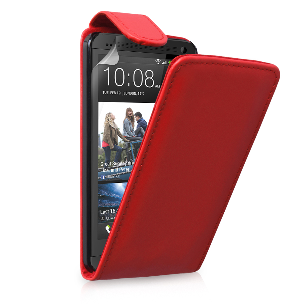 YouSave Accessories HTC One Leather Effect Flip Case - Red