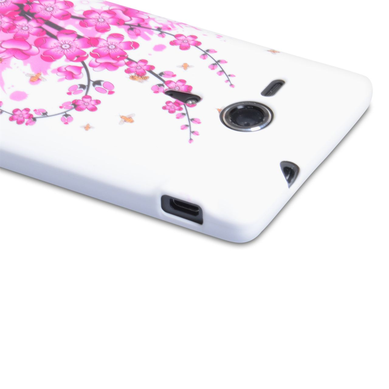 YouSave Accessories Sony Xperia SP Floral Bee Silicone Gel Case