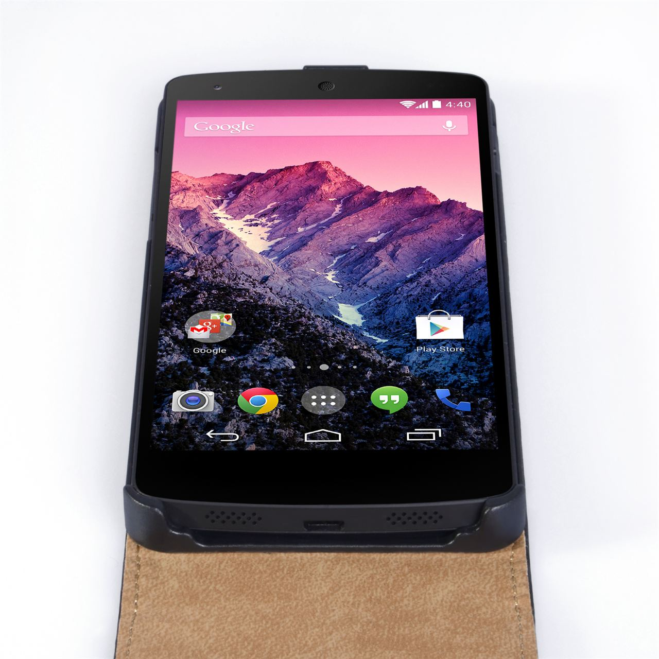 YouSave Accessories Nexus 5 Real Leather Flip Case - Black