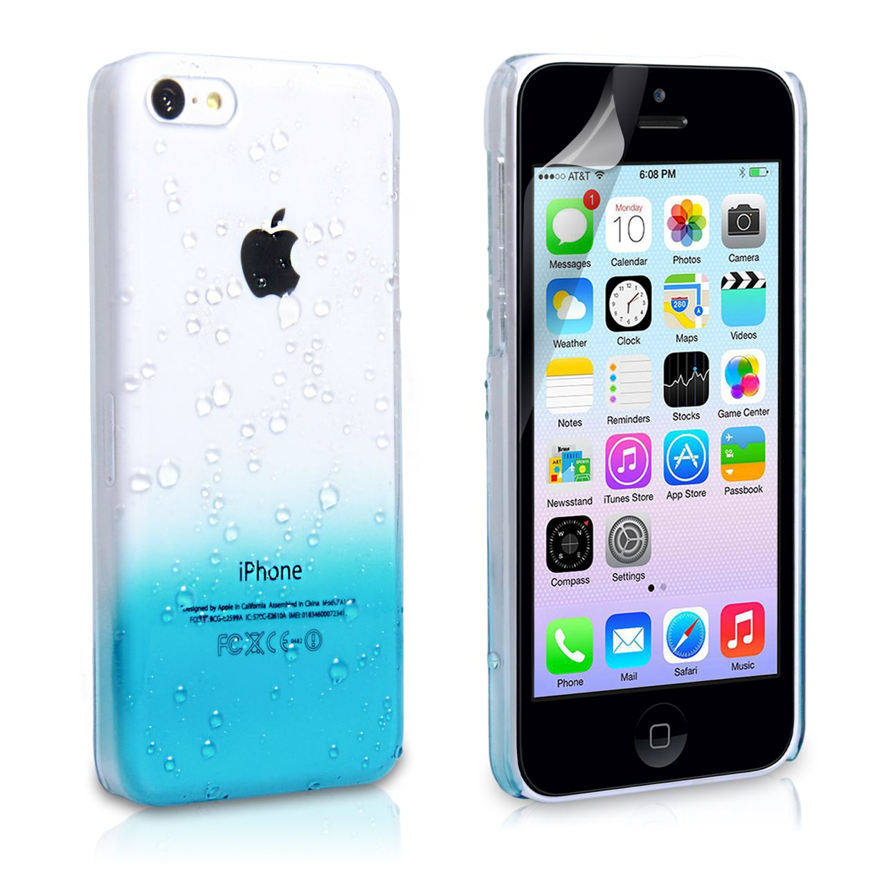 YouSave Accessories iPhone 5C Raindrop Hard Case - Blue ... 9ea8063cc