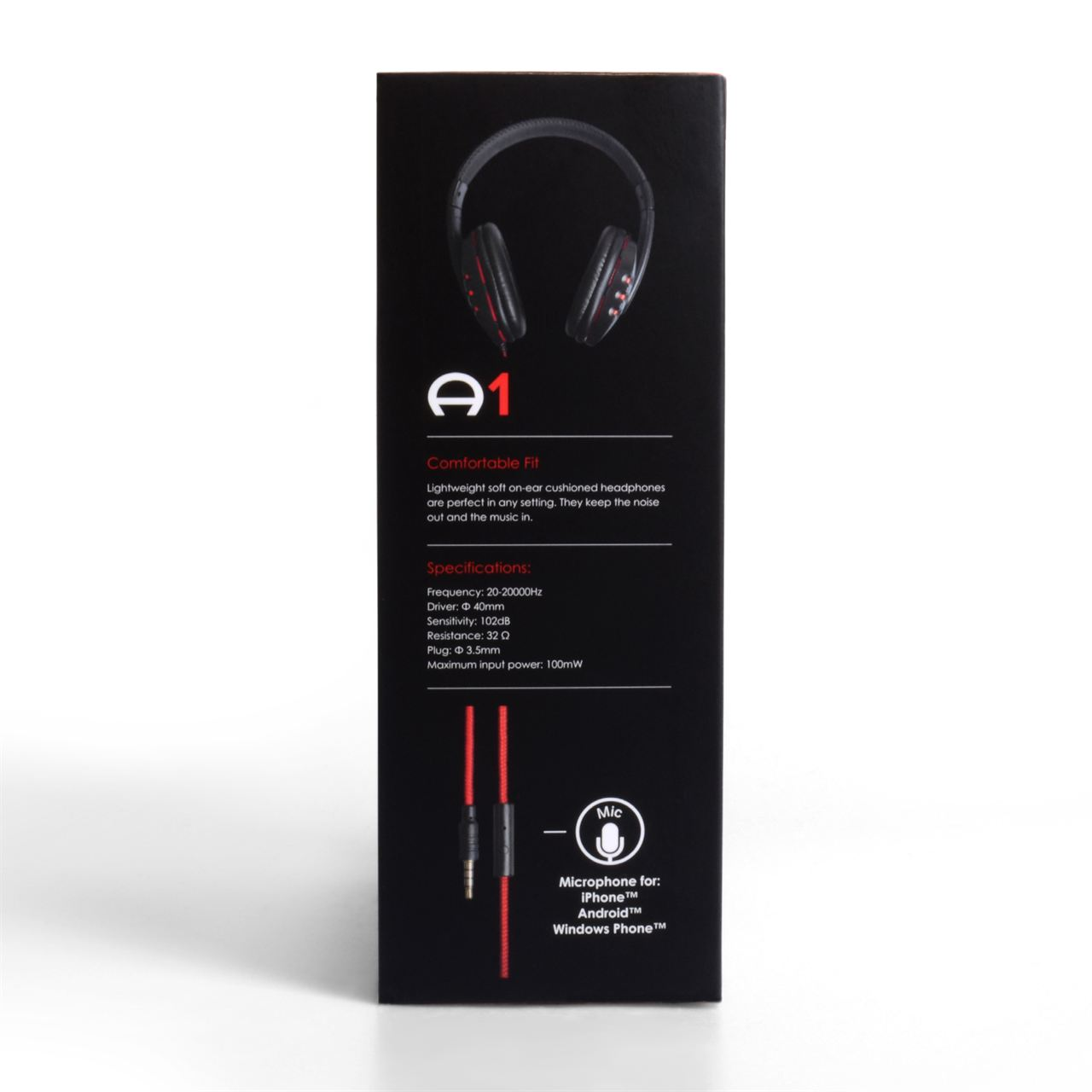 Audiance A1 Over Ear Headphones - Black/Red