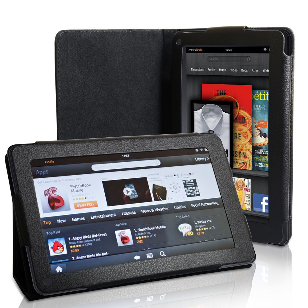 Caseflex Kindle Fire Textured Faux Leather Stand Case - Black