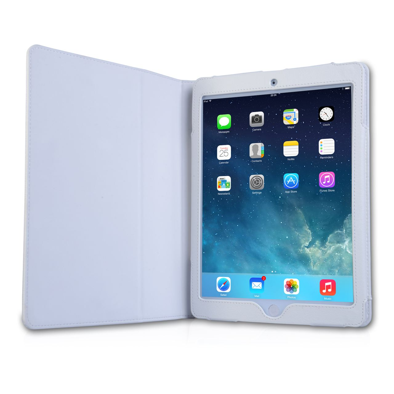 Caseflex iPad Air Textured Faux Leather Stand Case - White