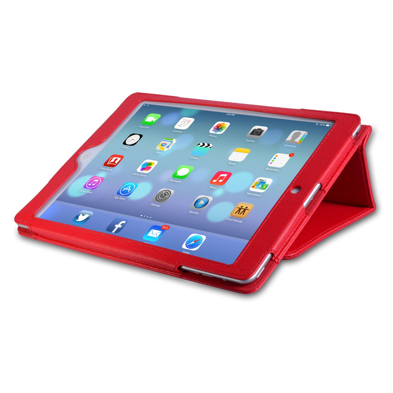 Caseflex Ipad Air Textured Leather-Effect Stand Cover - Red