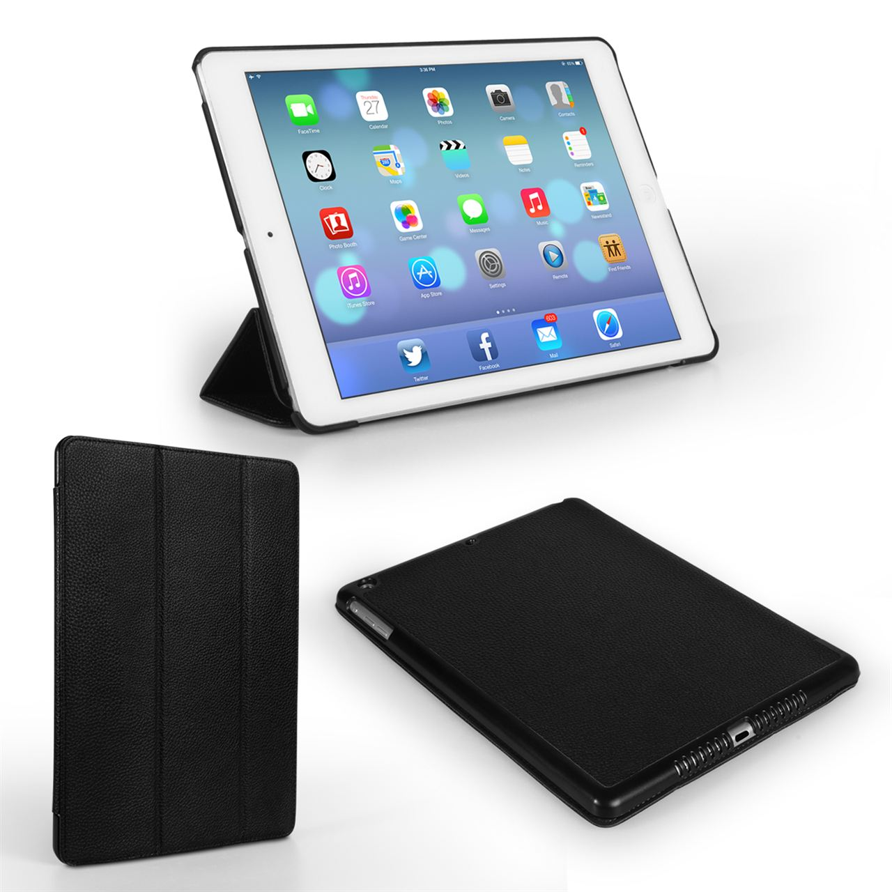 Caseflex iPad Air Textured Faux Leather Hardshell Stand Cover - Black