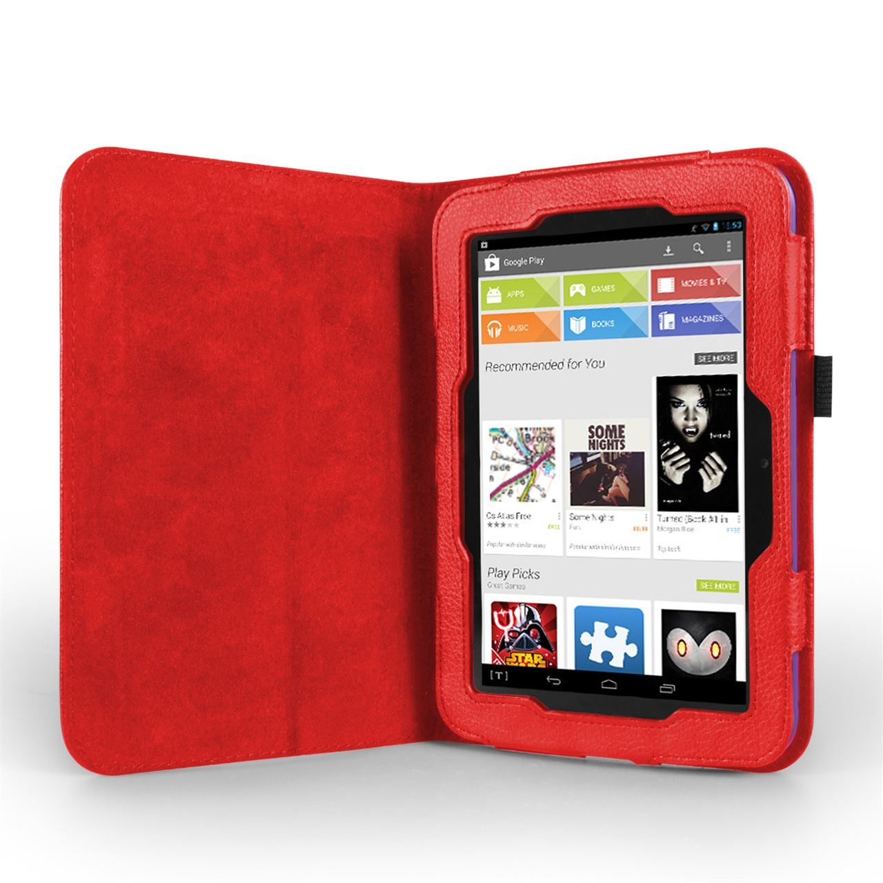 "Caseflex Hudl 7"" Textured Faux Leather Stand Case - Red"