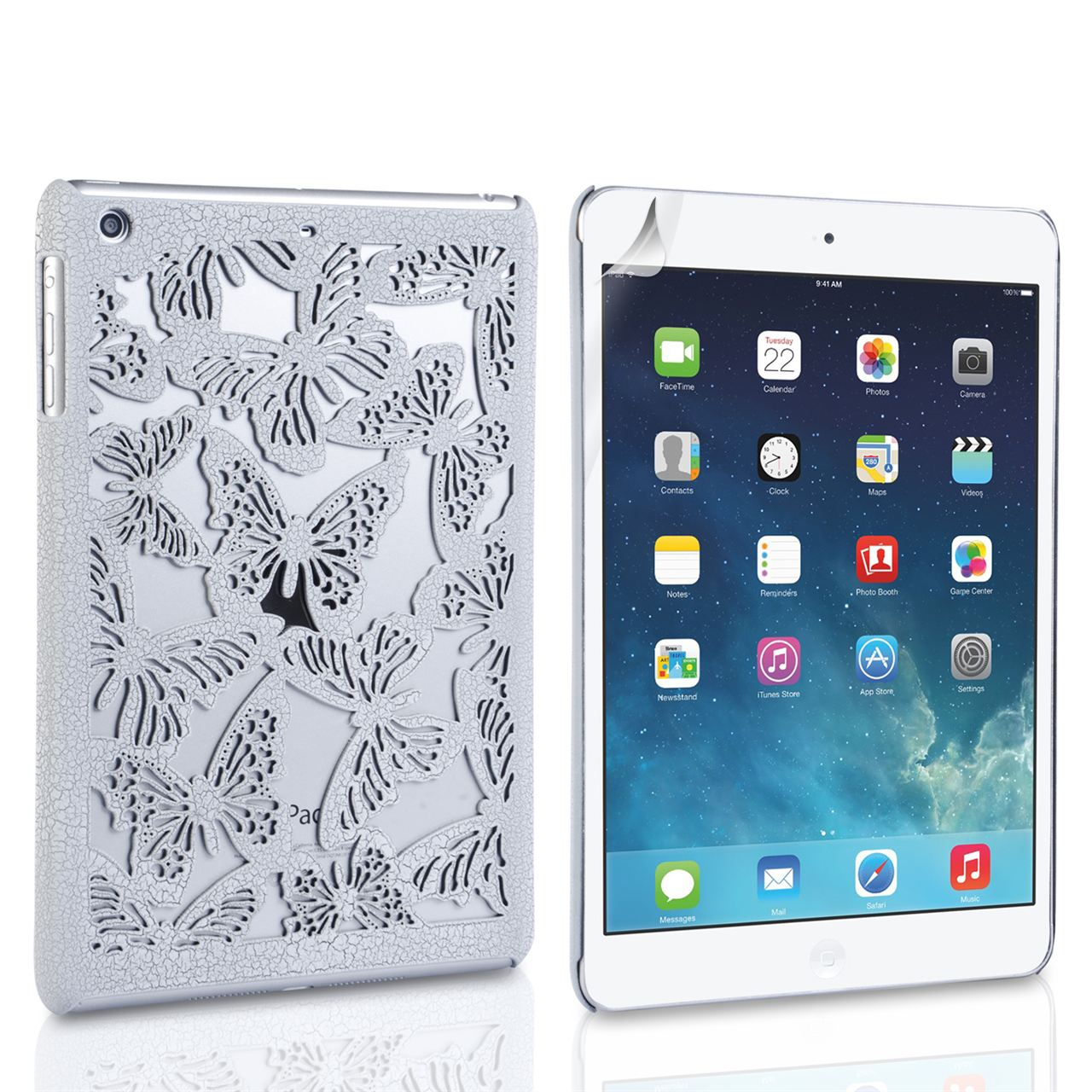 Caseflex iPad Mini 2 Cut Out Butterfly Hard Cover - White