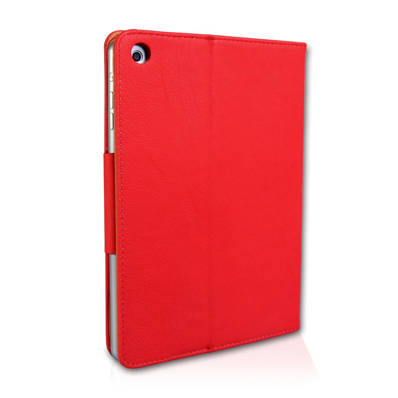 Caseflex iPad Mini 2 Textured Faux Leather Flip Case - Red and Tan