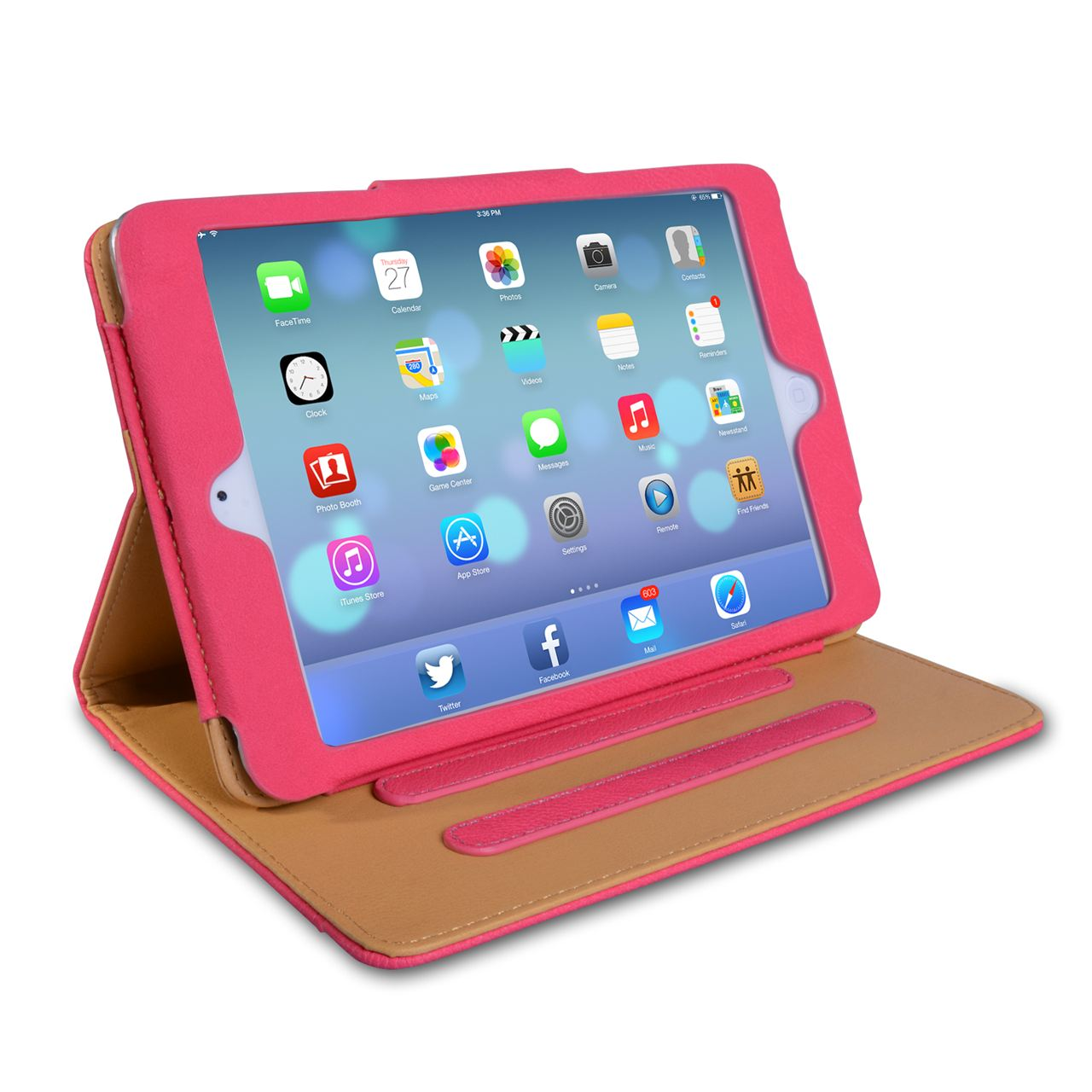 Caseflex iPad Mini 2 Textured Faux Leather Flip Case Hot Pink and Tan