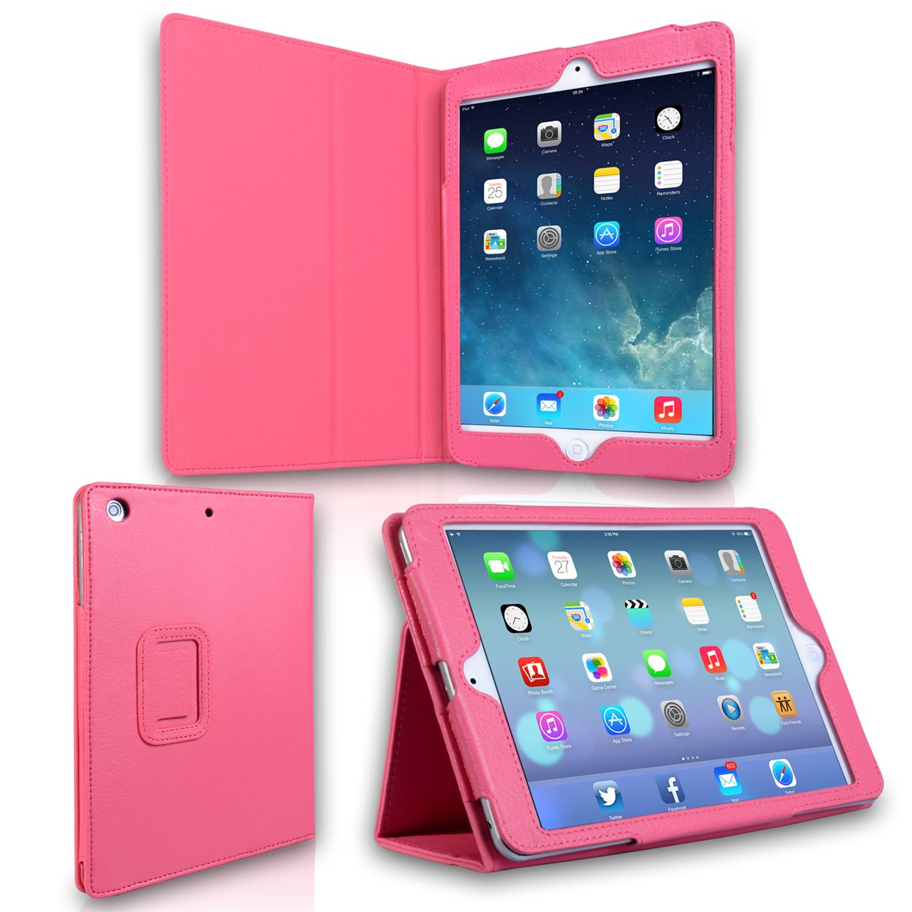 Caseflex iPad Mini 2 Textured Faux Leather Stand Case - Hot Pink