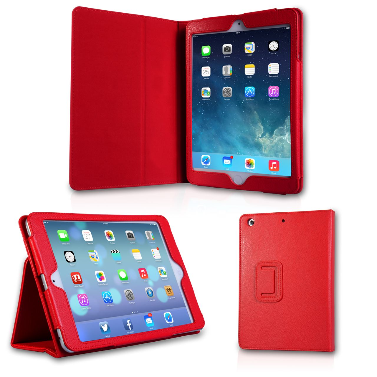 Caseflex iPad Mini 2 Textured Faux Leather Stand Case - Red
