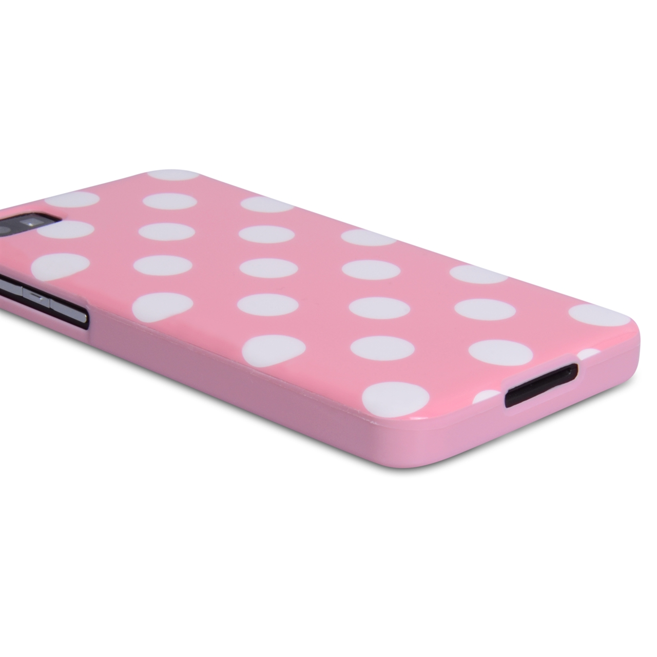 YouSave Accessories Blackberry Z10 Polkadot Gel Case - Baby Pink