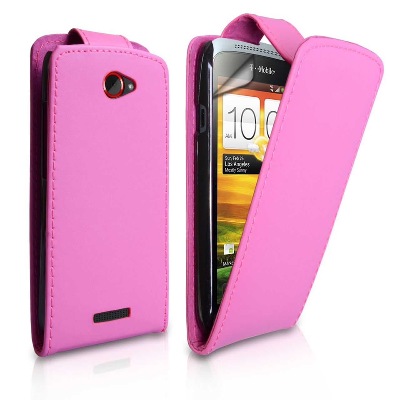 YouSave Accessories HTC One S Leather Effect Flip Case - Pink