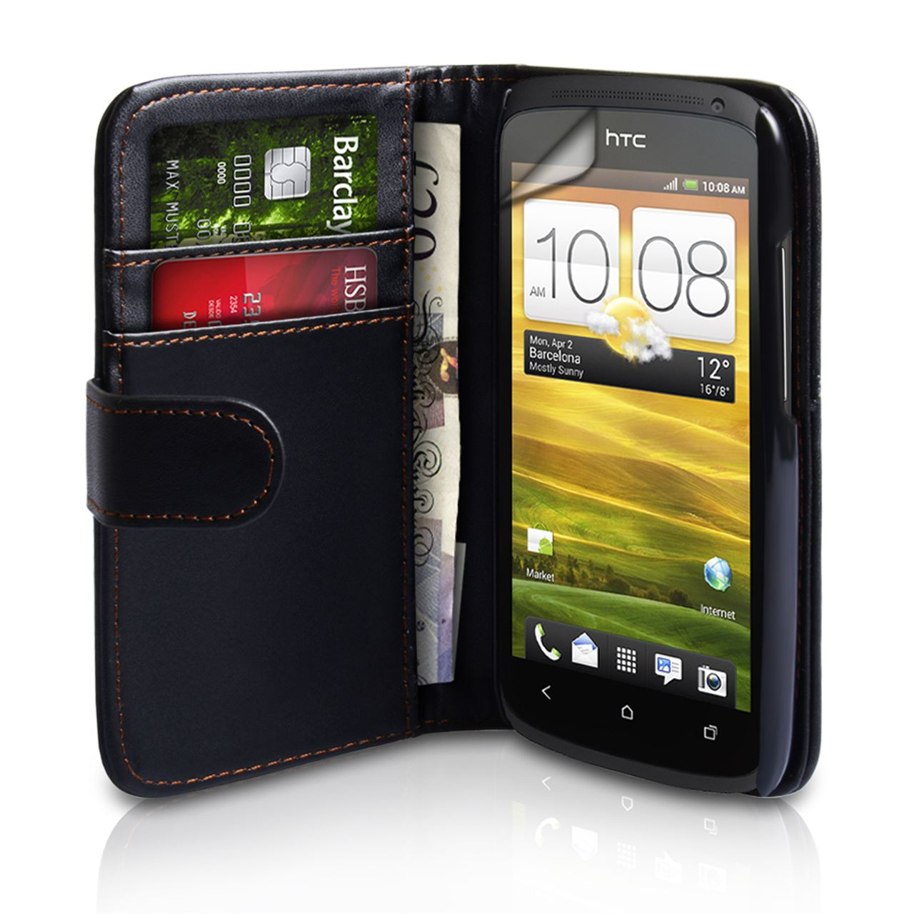 YouSave Accessories HTC One S Leather Effect Wallet Case - Black
