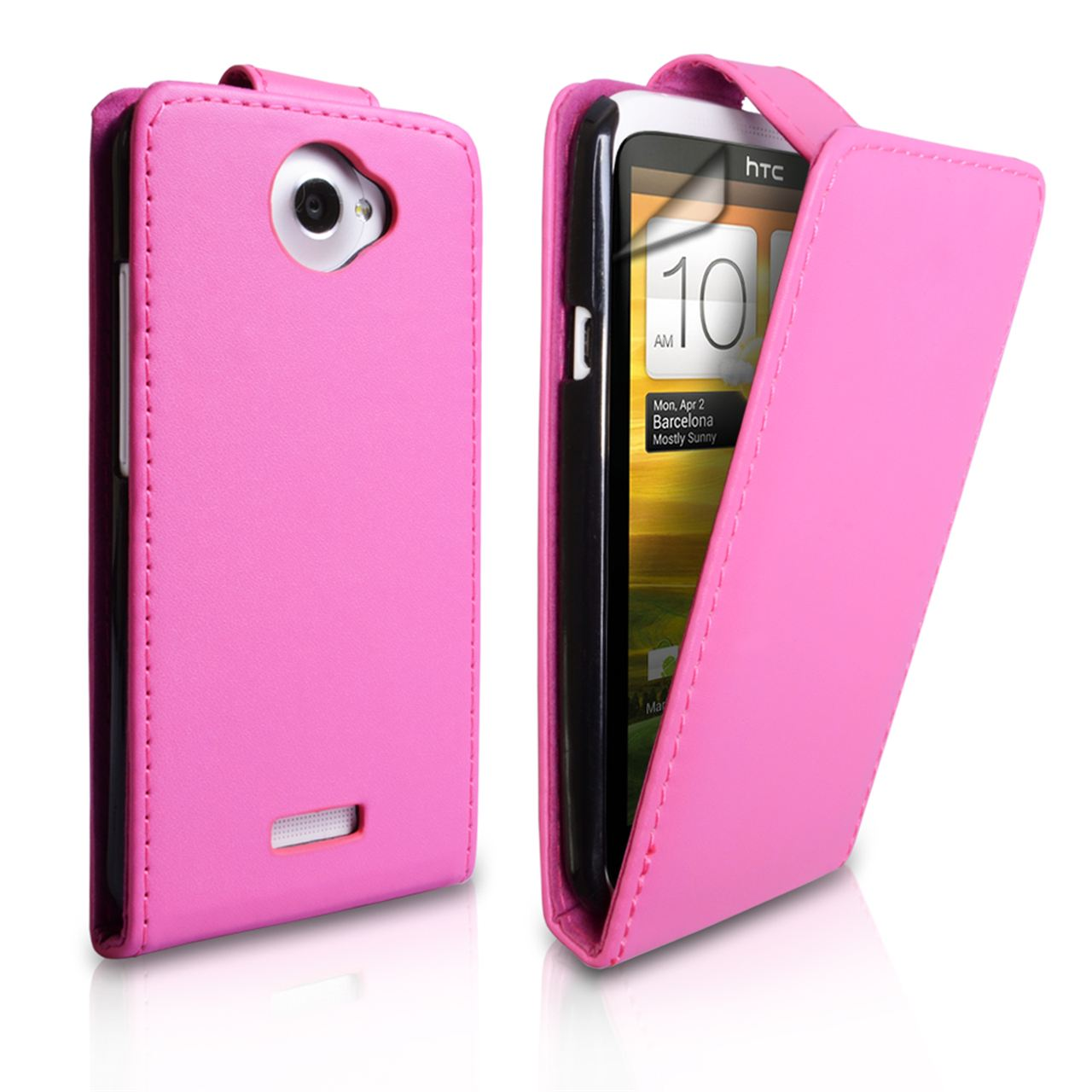 YouSave Accessories HTC One X Leather-Effect Flip Case - Hot Pink