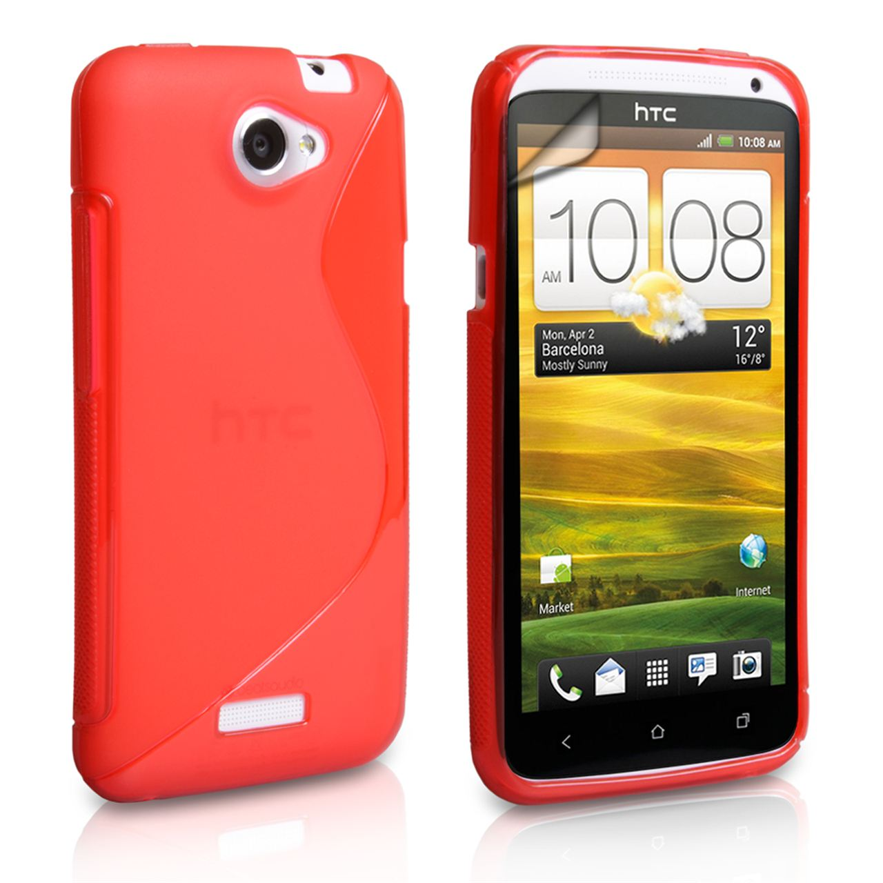 Caseflex HTC One X Silicone Gel S-Line Case - Red