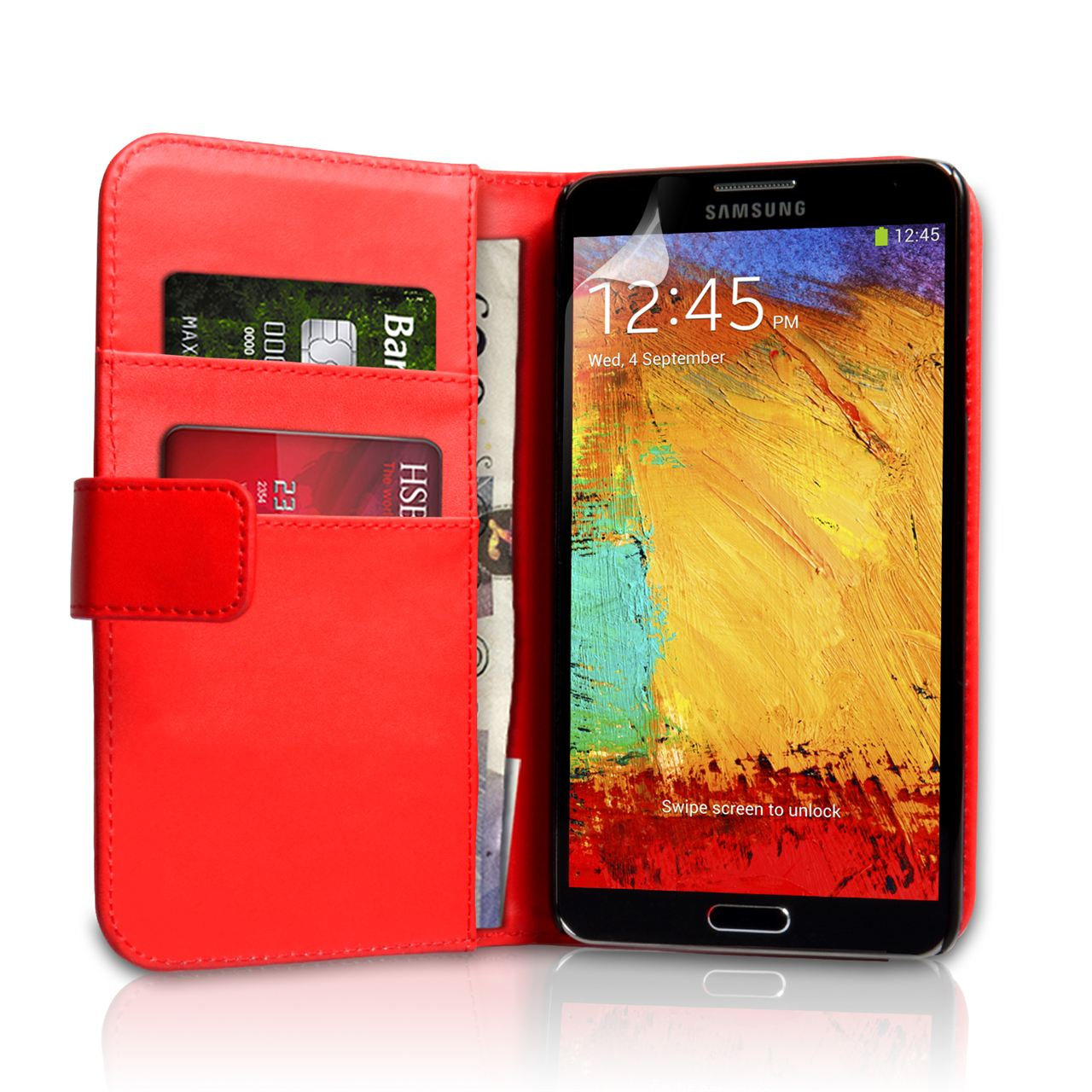 YouSave Samsung Galaxy Note 3 Leather Effect Wallet Case - Red