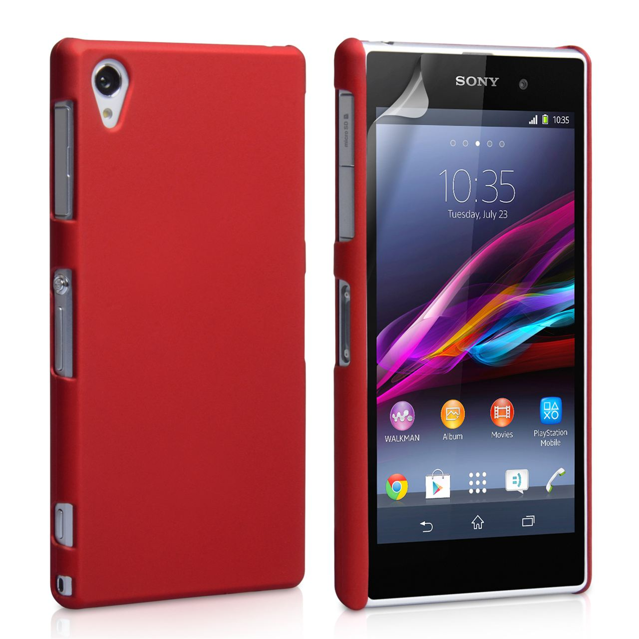 YouSave Accessories Sony Xperia Z1 Hard Hybrid Case - Red