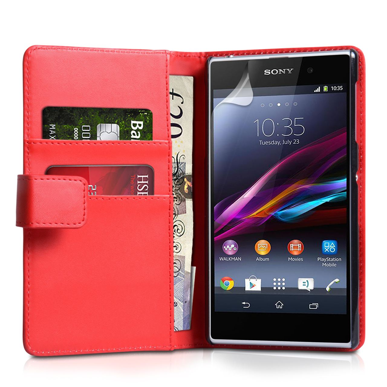 YouSave Accessories Sony Xperia Z1 Leather Effect Wallet - Red