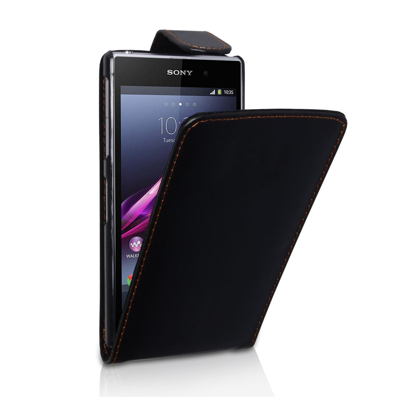 YouSave Accessories Sony Xperia Z1 Leather Effect Flip Case - Black