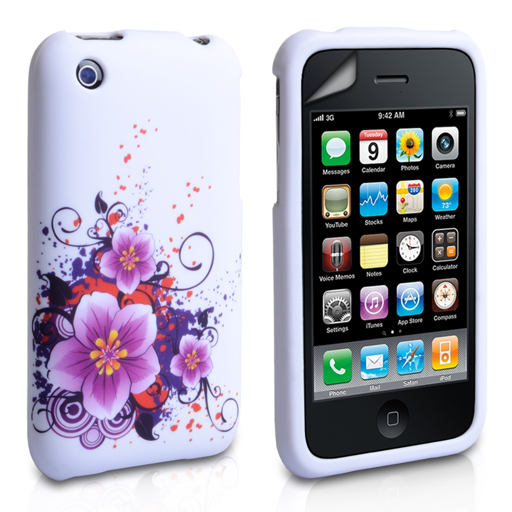 YouSave Accessories iPhone 3G / 3GS Floral Gel Case - White-Purple