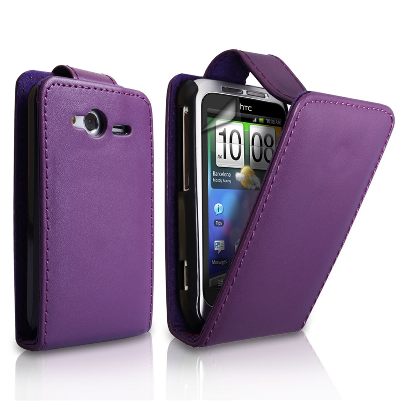 YouSave Accessories HTC Wildfire S Leather-Effect Flip Case - Purple