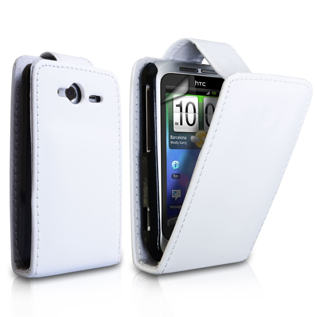 YouSave Accessories HTC Wildfire S Leather-Effect Flip Case - White