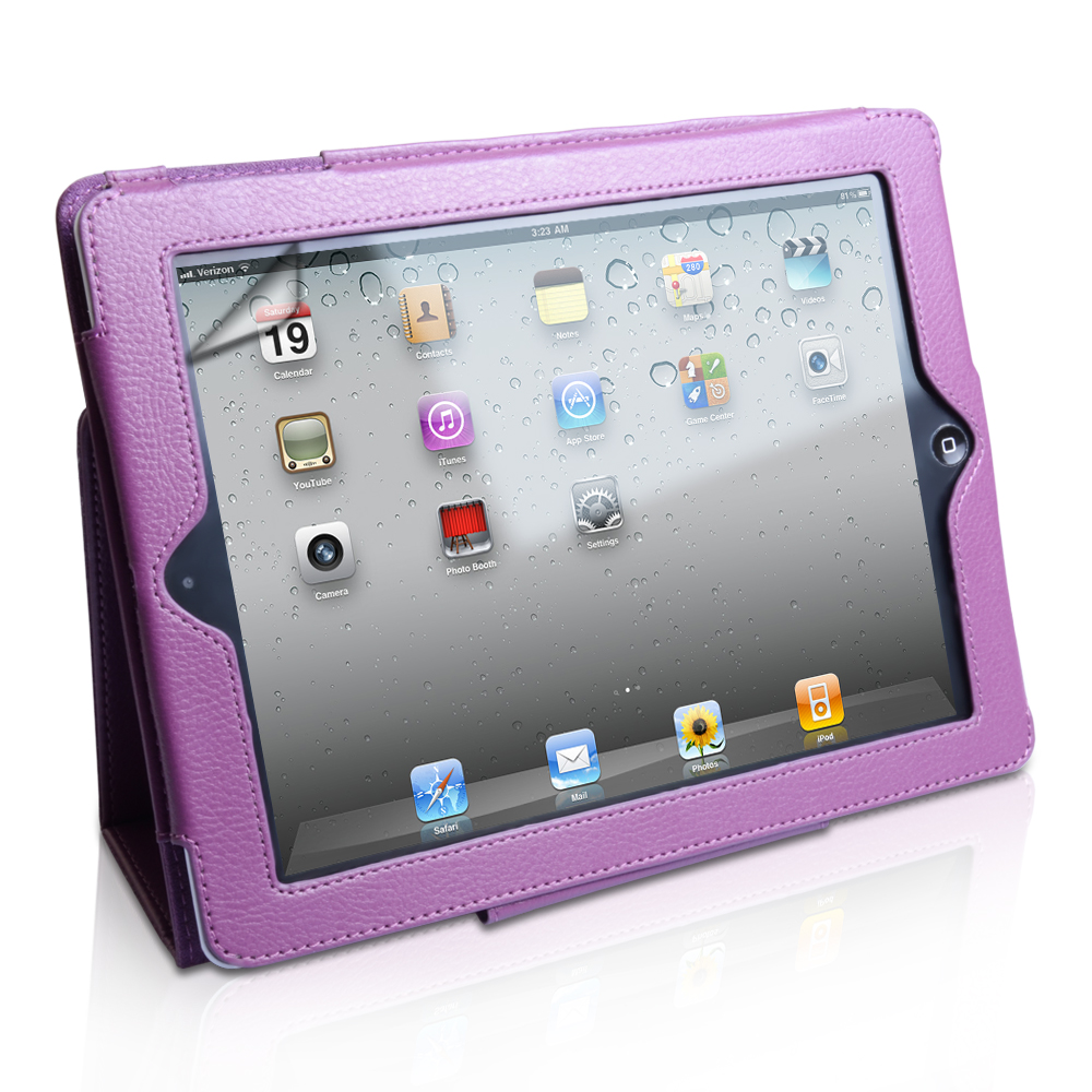 iPad 3 Purple Leather Effect Stand Case