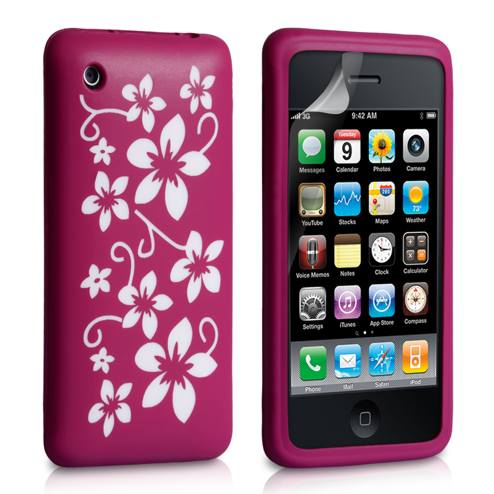 YouSave Accessories iPhone 3G / 3GS Floral Silicone Case - Dark Pink