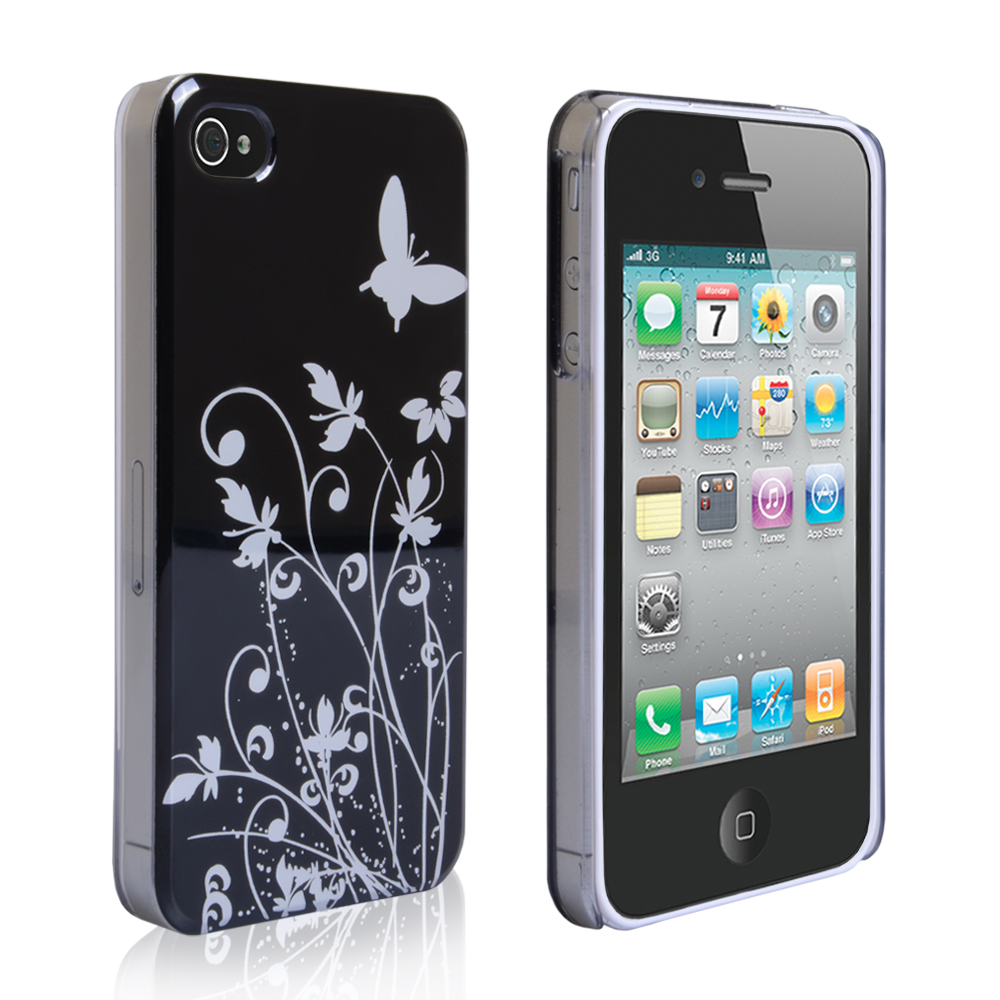 YouSave iPhone 4 / 4S Floral Butterfly Hard Case - Black-Silver