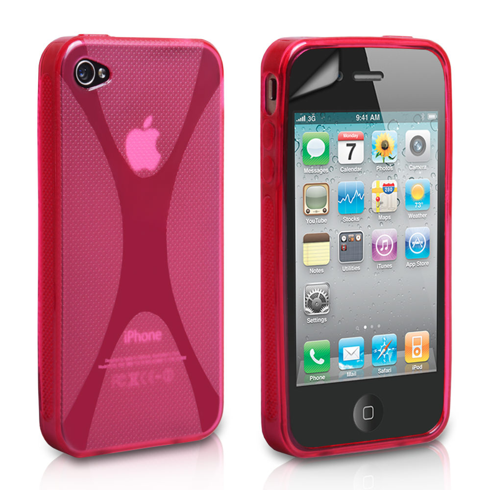 YouSave Accessories iPhone 4 / 4S X-Line Silicone Gel Case - Hot Pink
