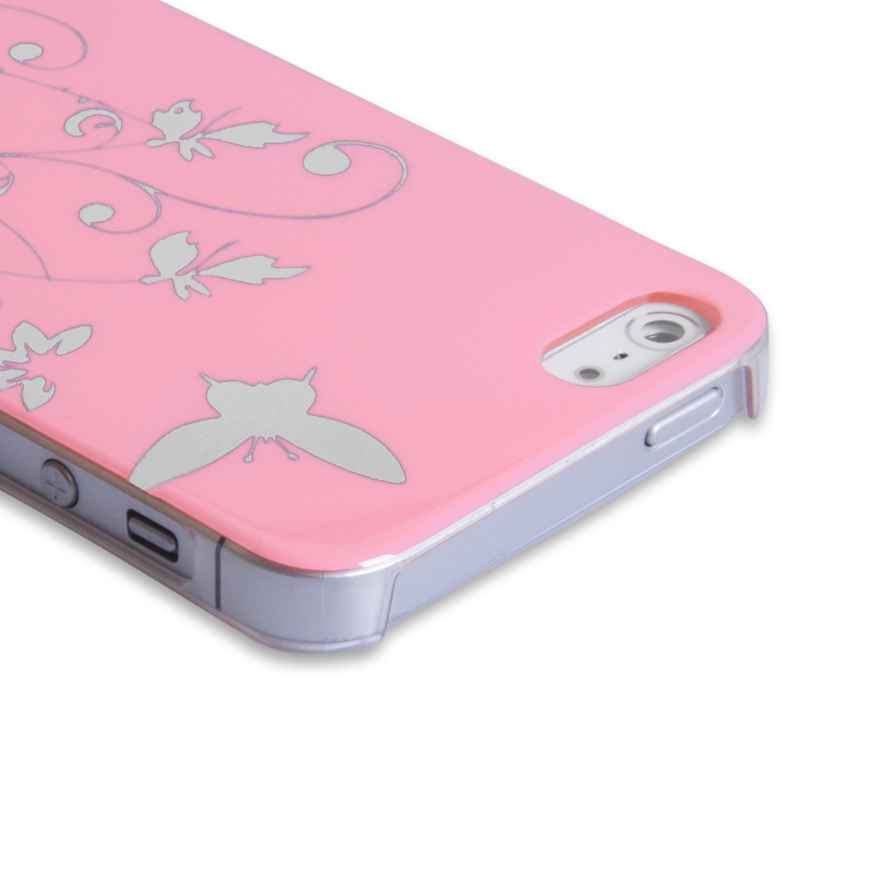 YouSave Accessories iPhone 5 / 5S Butterfly IMD Hard Case - Baby Pink
