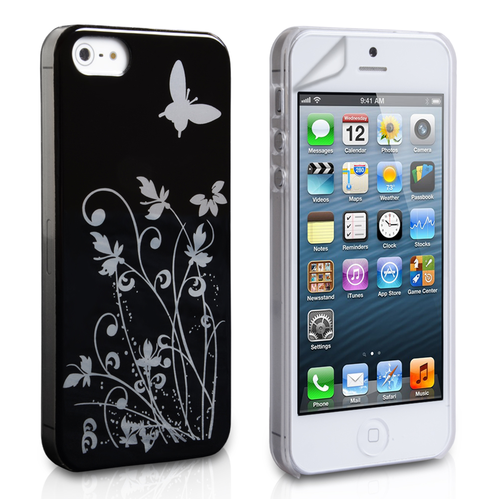 YouSave iPhone 5 / 5S Floral Butterfly Hard Case - Black-Silver