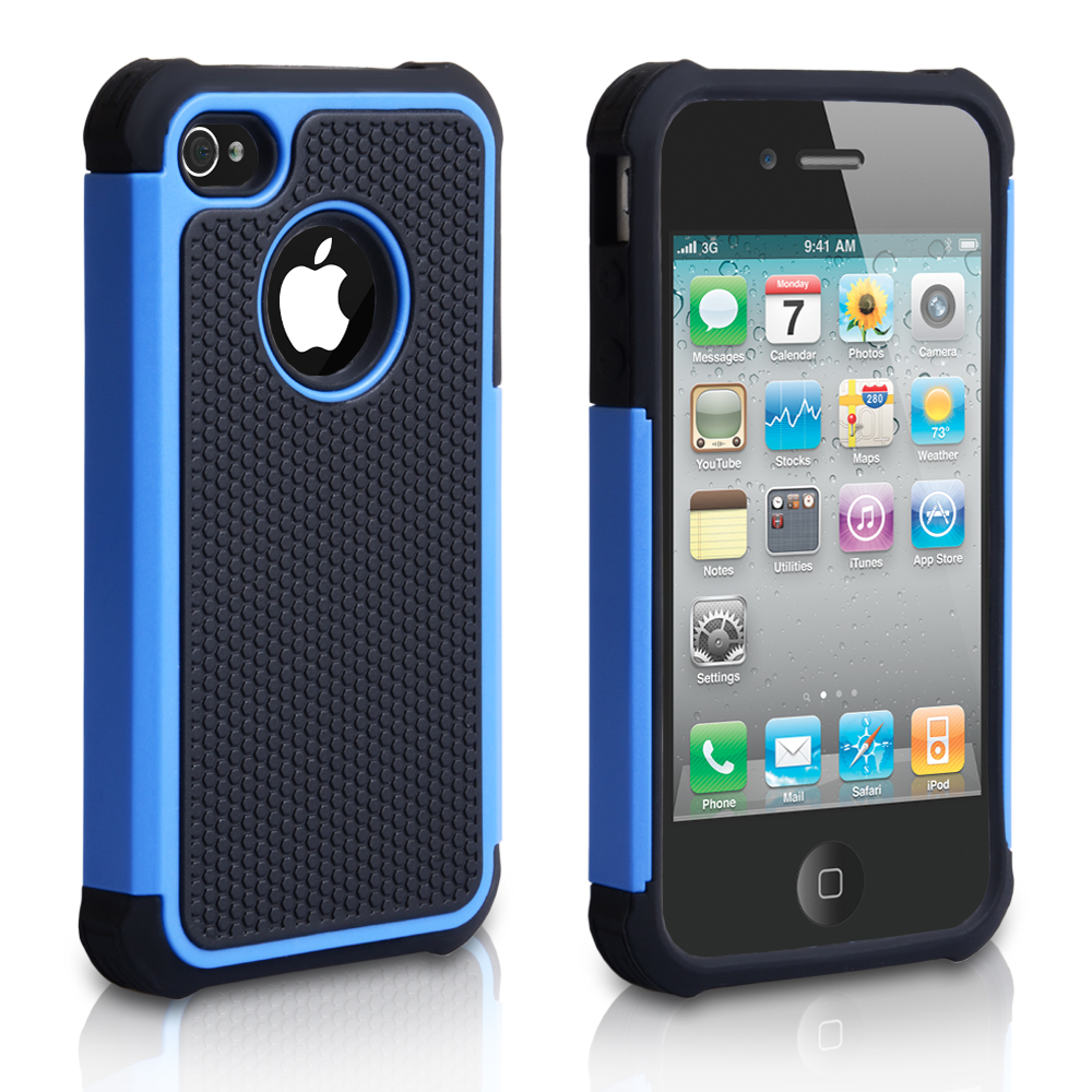 Yousave Accessories iPhone 4 Grip Combo Case - Blue/Black