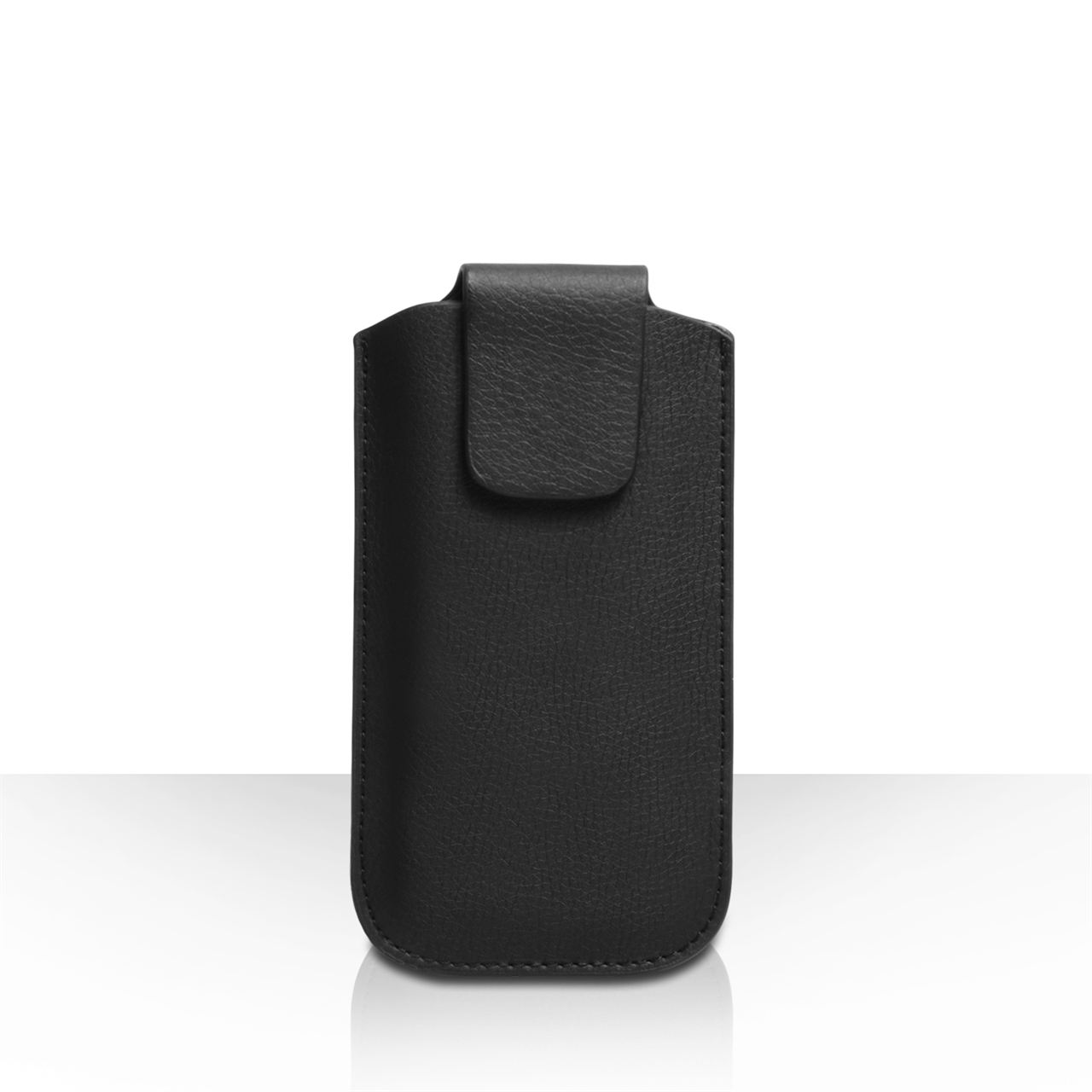 Caseflex Small Textured Faux Leather Phone Pouch - Black