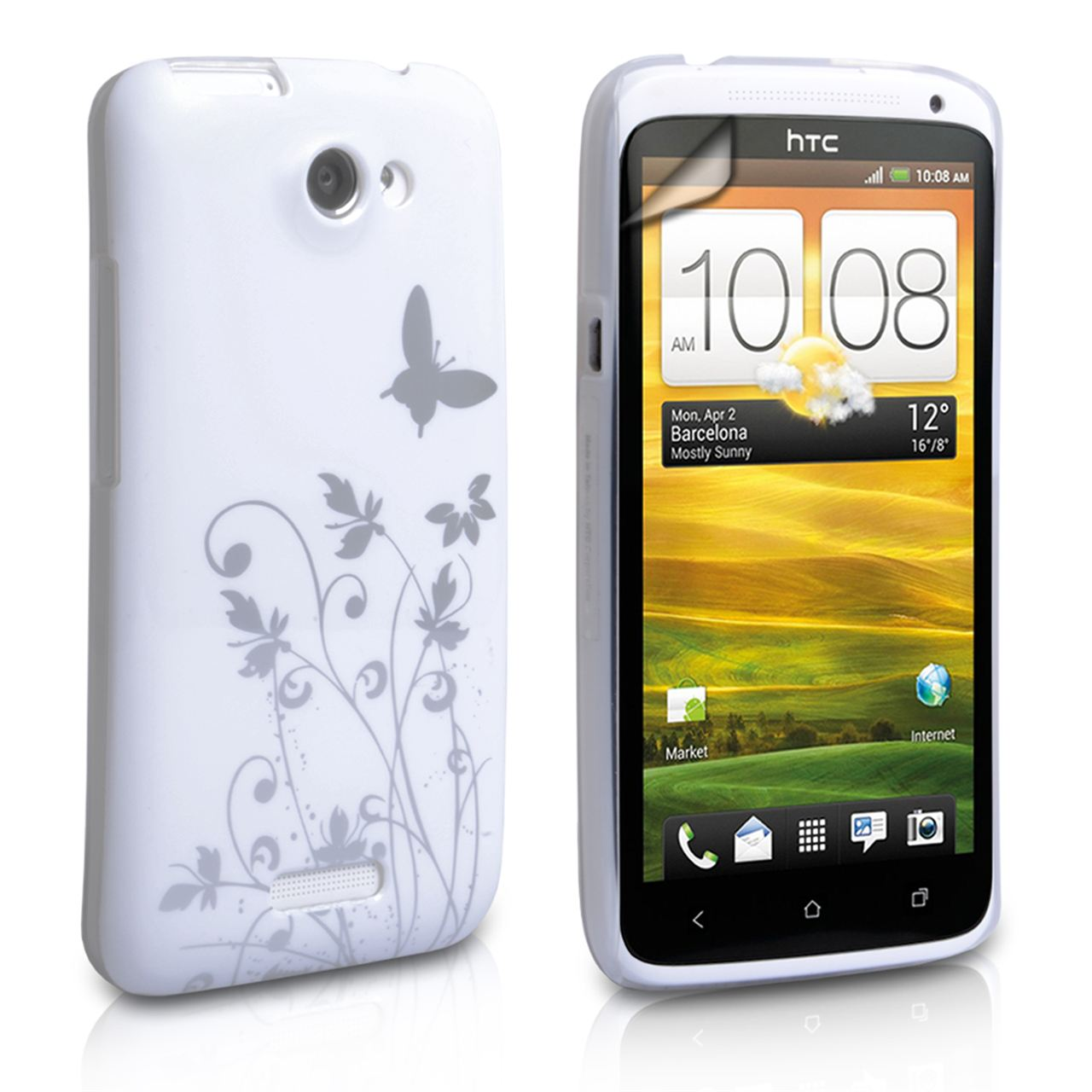 YouSave HTC One X Floral Butterfly Hard Case - White-Silver