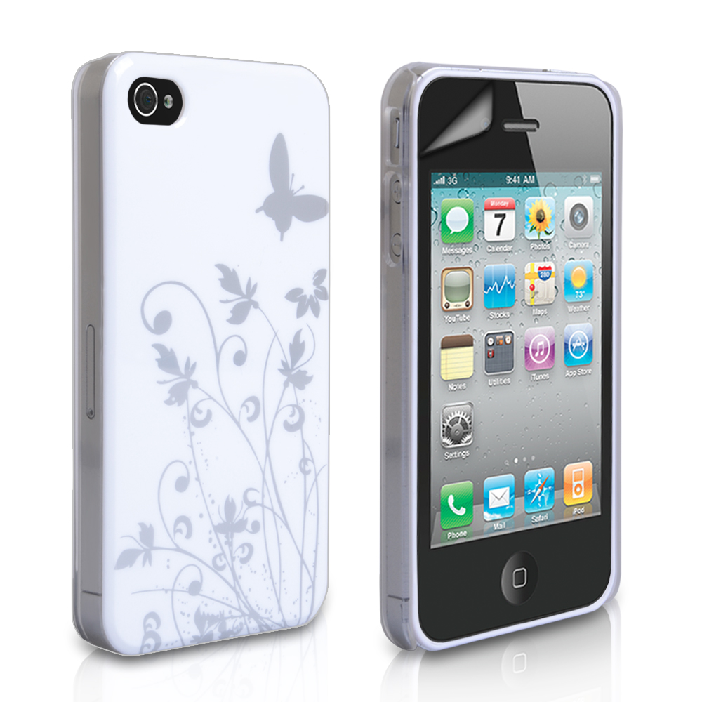 YouSave iPhone 4 / 4S Floral Butterfly Hard Case - White-Silver