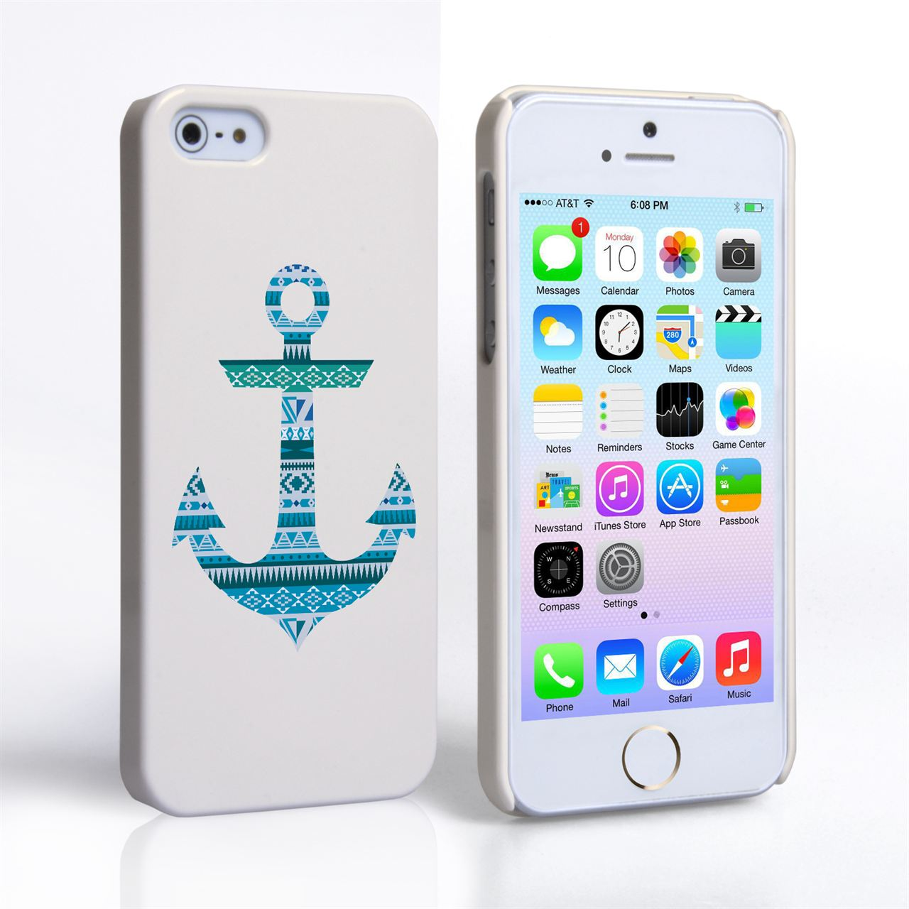 Caseflex iPhone 5 / 5S Aztec Blue Anchor Hard Case