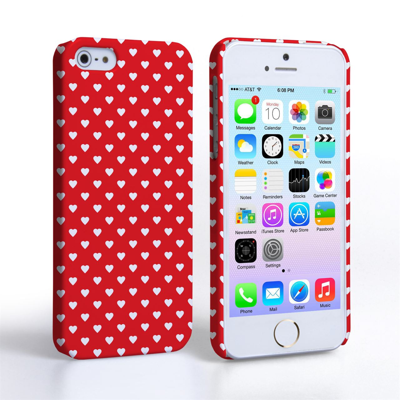 Caseflex iPhone 5 / 5S Cute Hearts Case - Red