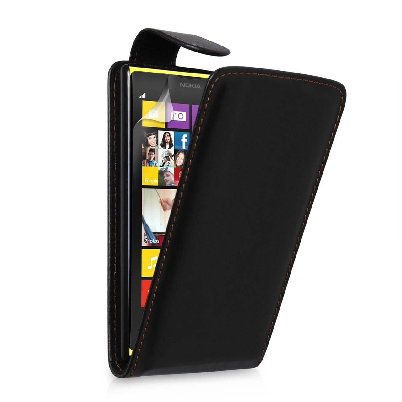 YouSave Accessories Nokia Lumia 1020 Leather Effect Flip Case - Black