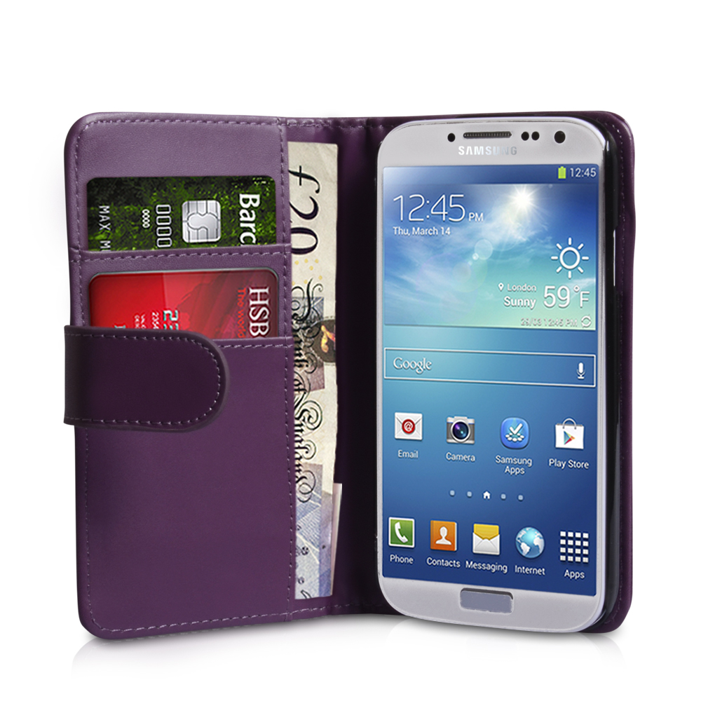 YouSave Samsung Galaxy S4 Leather Effect Wallet Case - Purple