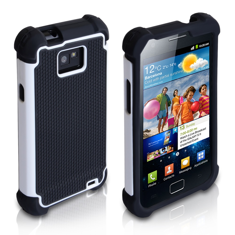 YouSave Accessories Samsung Galaxy S2 Black-White Dual Combo Grip Case